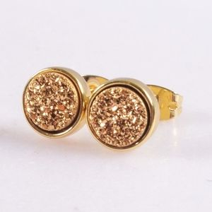 3/$20...Round Agate Druzy Bezel Stud Earrings
